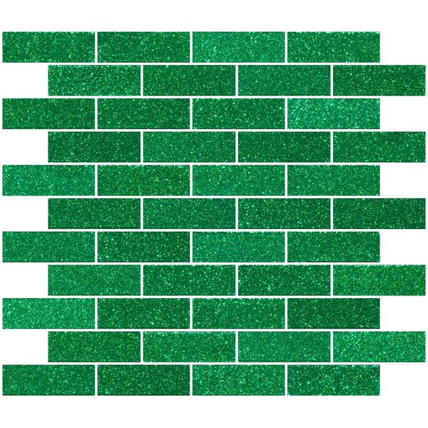 1 x 3 Glass Subway Tile in Emerald Green by Susan Jablon