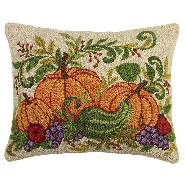 Munsell Fall Harvest Pumpkins Wool Throw Pillow by August Grove