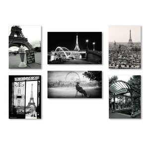 Paris Wall 6 Piece Photographic Print on Wrapped Canvas Set by Trademark Fine Art