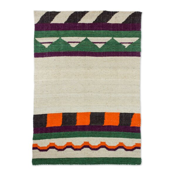 Rivage Mountain Hand-Woven Wool Beige/Green Area Rug by Bloomsbury Market