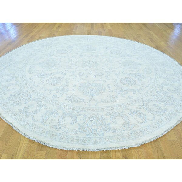 One-of-a-Kind Beaumont Washed Out Hand-Knotted Ivory Wool Area Rug by Isabelline