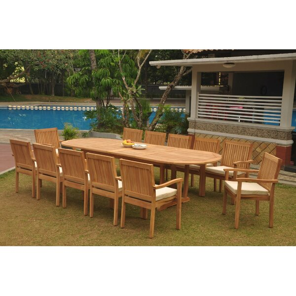 Manor 13 Piece Teak Dining Set by Rosecliff Heights