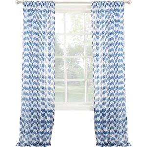 Leland Chevron Sheer Rod Pocket Single Curtain Panel