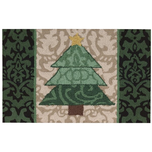 Christmas Hand Hooked Green/Beige Area Rug by Waverly