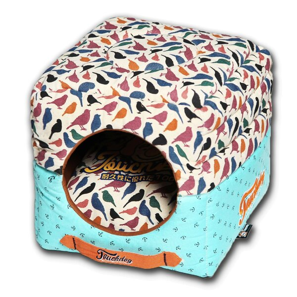 Chirpin-Avery Convertible and Reversible Squared 2-in-1 Collapsible Dog House Bed by Pet Life
