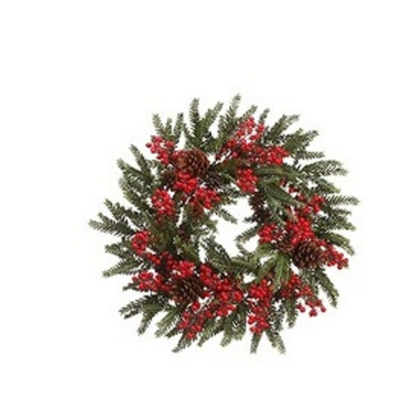 Berry and Pine Cone Artificial Christmas Wreath by Tori Home