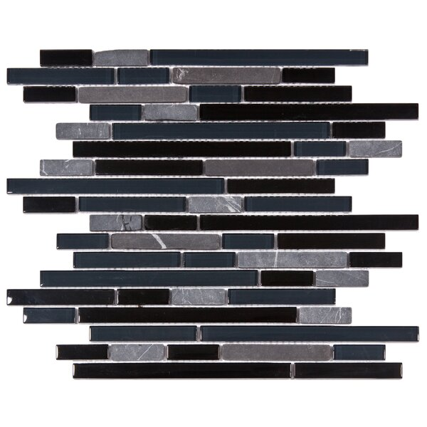 Sierra Random Sized Glass and Natural Stone Mosaic Tile in Black/Blue by EliteTile