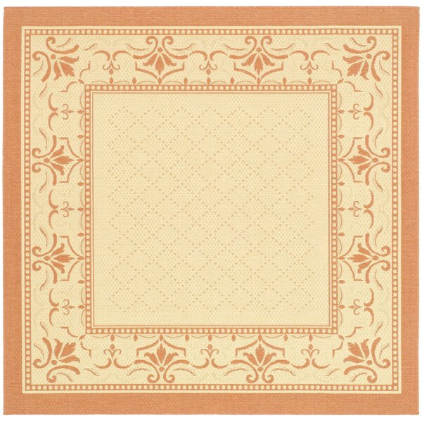 Amaryllis Natural/Terracotta Indoor/Outdoor Area Rug by Bay Isle Home