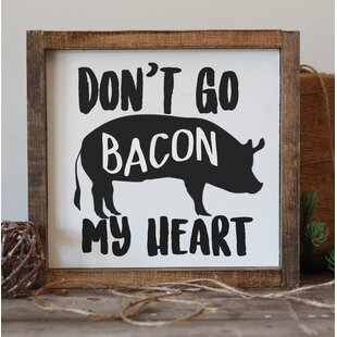 bacon my heart framed funny wood kitchen sign wall decor - Funny Kitchen Signs