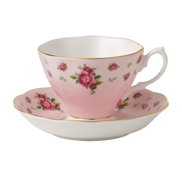 New Country Roses Formal Vintage Teacup and Saucer by Royal Albert
