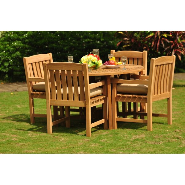 Parkhur Luxurious 5 Piece Teak Dining Set by Rosecliff Heights