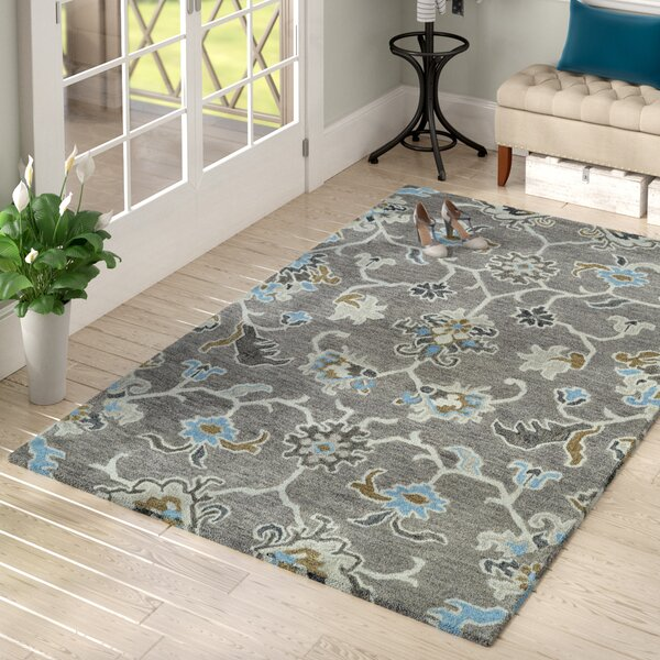 Casper Gray Tufted Wool Area Rug by Charlton Home