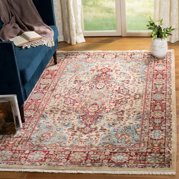 Kurtz Ivory/Red Area Rug by World Menagerie