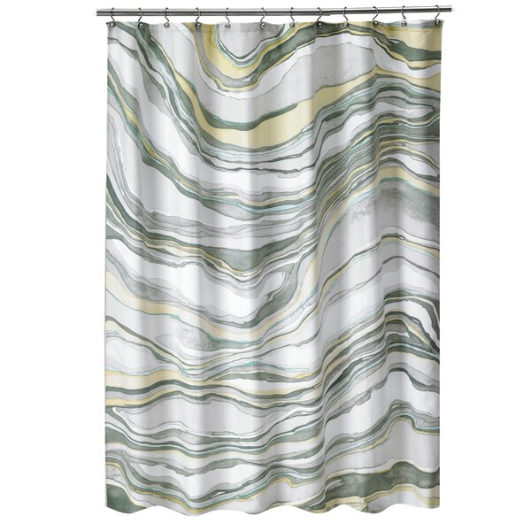 Noelia Hypnotic Marble Fabric Shower Curtain by Highland Dunes