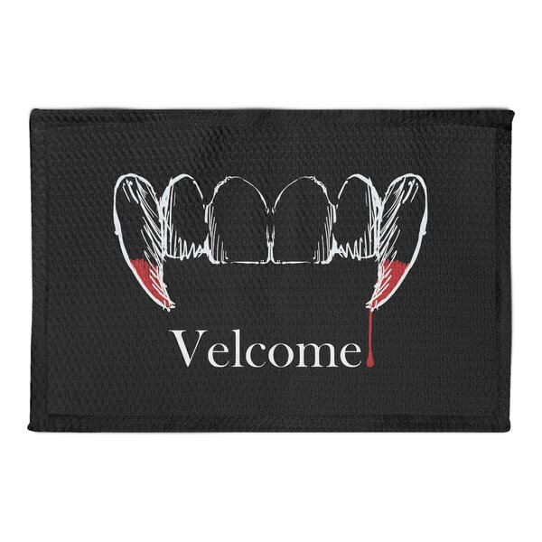 Makayla Velcome Vampire Teeth Black Area Rug by The Holiday Aisle