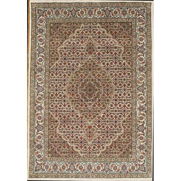 Tabriz Mahi Hand-Knotted Wool Ivory Area Rug by Pasargad NY