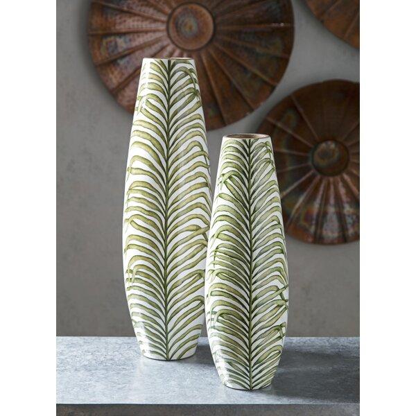 Torain Palm Handpainted Floor Vase by Bay Isle Home