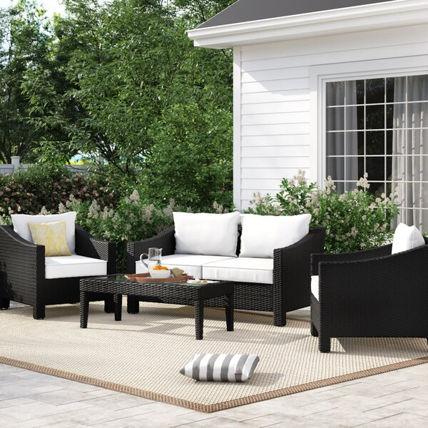 Portola 4 Piece Sofa Seating Group With Cushions By Sol 72 Outdoor by Sol 72 Outdoor 2020 Sale