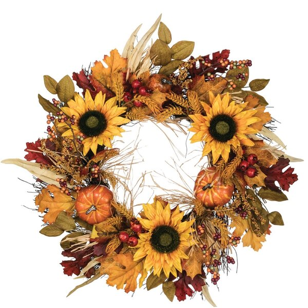 Autumn Wheat and Sunflower 24 Polyester Wreath by August Grove