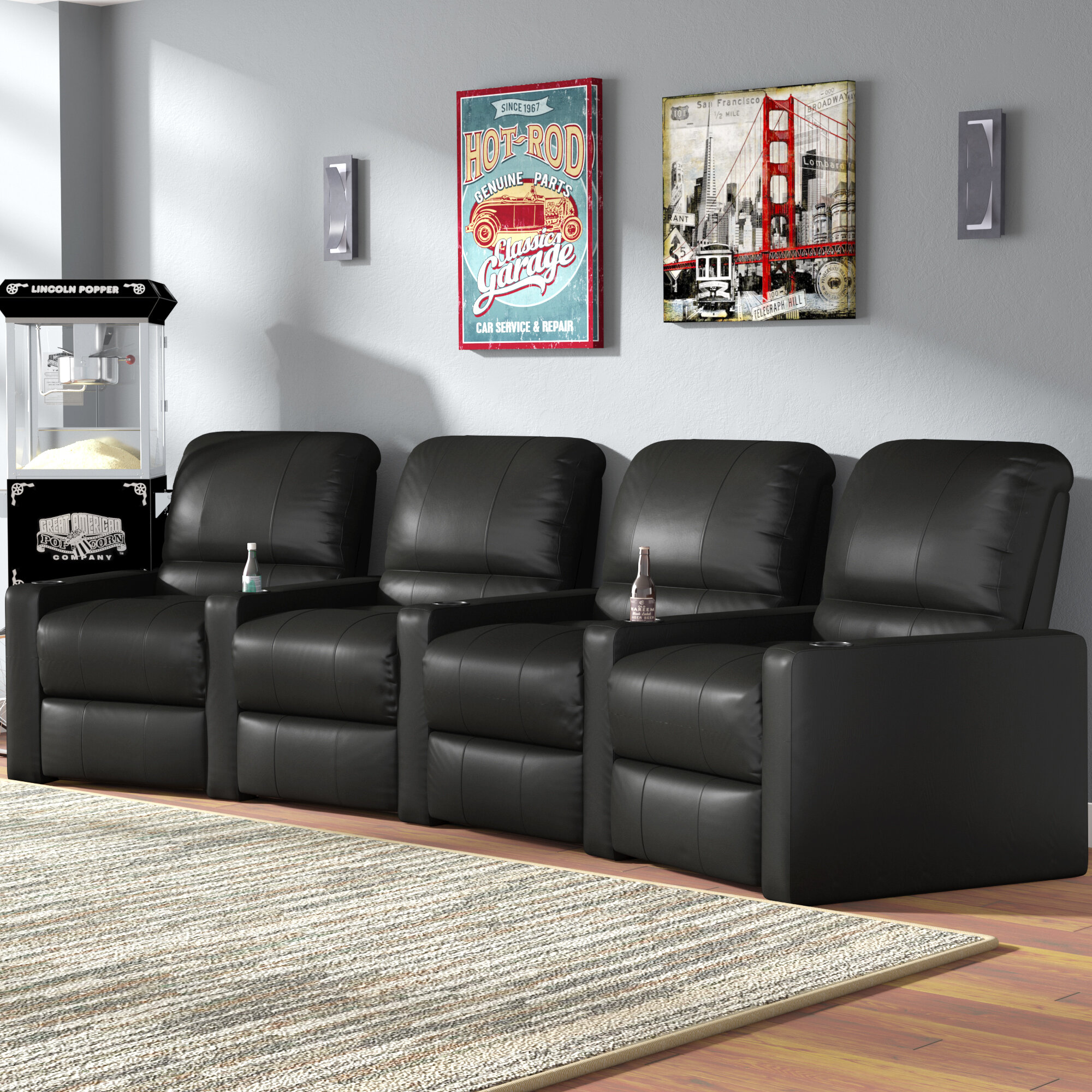 Latitude Run Home Theater Curved Row Seating (Row of 4 ...