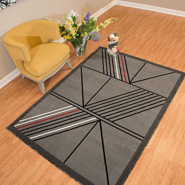 Partlow Gray Area Rug by Wrought Studio