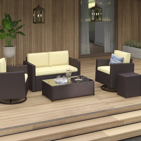 Belton 6 Piece Rattan Sofa Seating Group with Cushions by Mercury Row