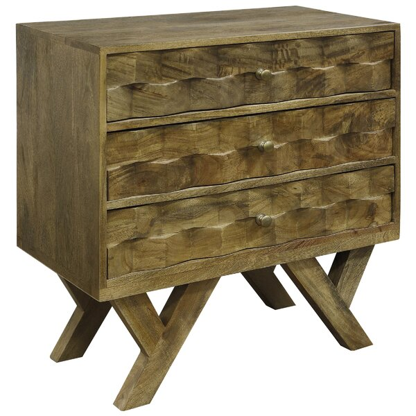 Dubois Solid Mango Wood 3 Drawer Dresser by Union Rustic