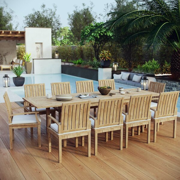 Cobb 11 Piece Teak Dining Set with Cushions by Rosecliff Heights