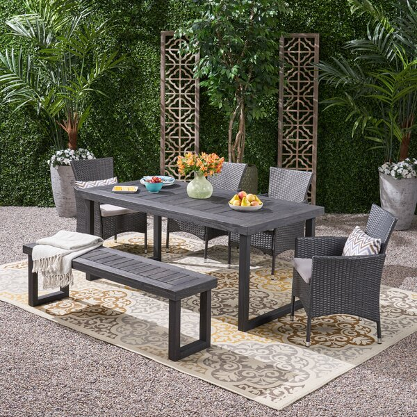 Rhinehart 6 Piece Dining Set with Cushions by Williston Forge