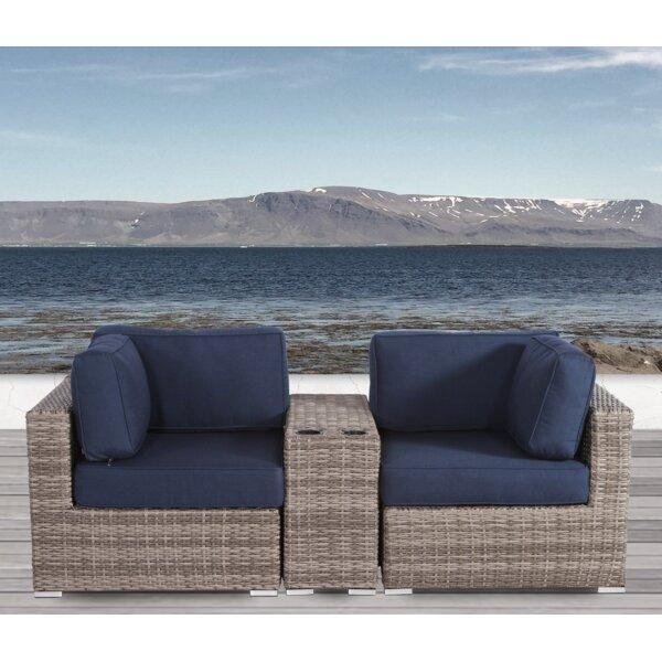 Lazaro 3 Piece Conversation Seating Group with Sunbrella Cushions