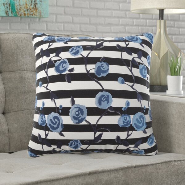 Hostetler Striped with Flowers Cotton Throw Pillow by Wrought Studio