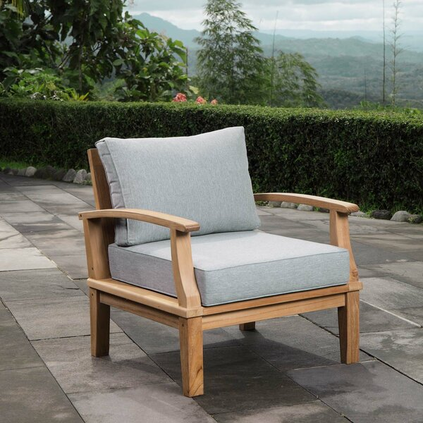 Elaina Teak Patio Chair With Cushions By Beachcrest Home by Beachcrest Home New Design
