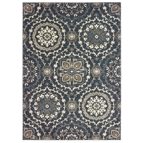 Dianne Floral Medallion Gray Area Rug by World Menagerie