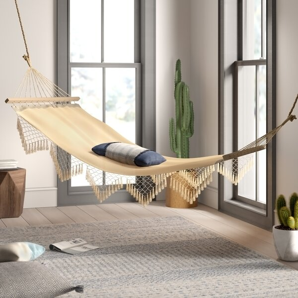 Edyth Fringed Cotton Tree Spreader Bar Hammock by Mistana