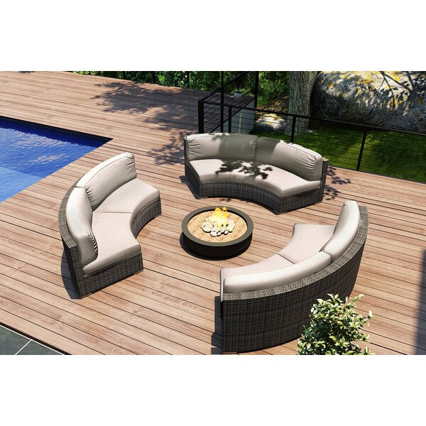 Hobbs 3 Piece Sectional Seating Group with Sunbrella Cushions by Rosecliff Heights