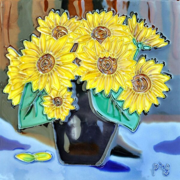 Sunflower in a Pot Tile Wall Decor by Continental Art Center