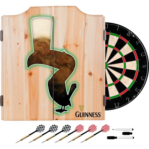 Guinness Feathering Dartboard and Cabinet Set by Trademark Global