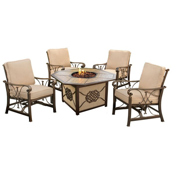 Bradenville 5 Piece Conversation Set with Cushions by Fleur De Lis Living