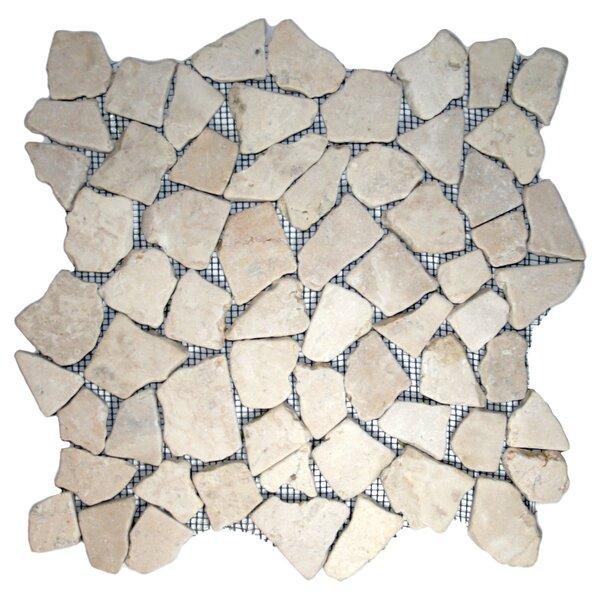 Muna Random Sized Natural Stone Mosaic Tile in Ecru White