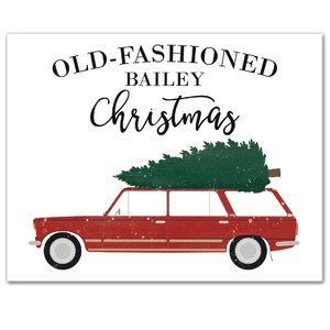 'Old Fashioned Family Christmas' Graphic Art Print on Canvas in Red/Green by Designs Direct Creative Group