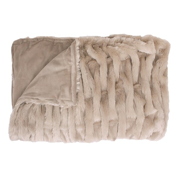 Mickelson Basketweave Faux Fur Throw by House of Hampton
