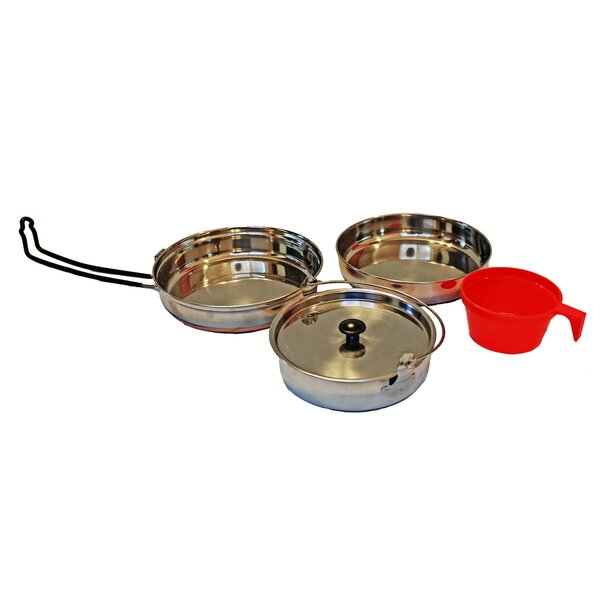 Alpine Mountain Gear 3 Piece Non-Stick Stainless Steel Cookware Set by Caddis Sports