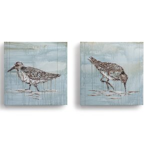 Beyond the Shore 'Shorebirds' 2 Piece Painting Print on Wrapped Canvas by DEMDACO