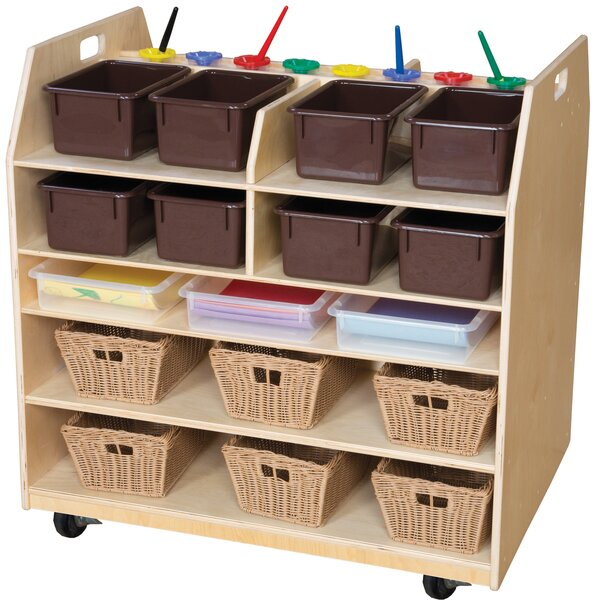 Trolley Art Cart Double Sided 7 Compartment Cubby with Trays by Wood Designs