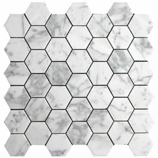 Hexagon 2 x 2 Marble Mosaic Tile in White by Luxsurface