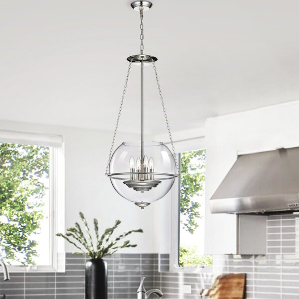 Regan 4 - Light Unique / Statement Globe Chandelier By Longshore Tides