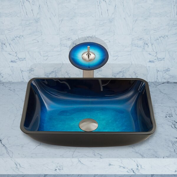 Water Tempered Glass Rectangular Vessel Bathroom Sink by VIGO