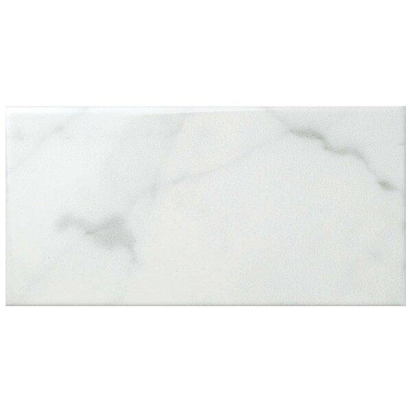Karra Carrara 3 x 6 Ceramic Subway Tile in Glossy White/Gray by EliteTile