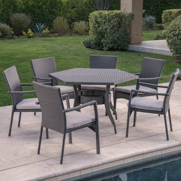 Emrich 7 Piece Dining Set With Cushion By Orren Ellis