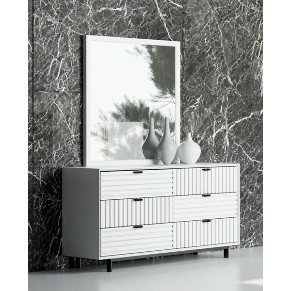 Arruda 6 Drawer Double Dresser With Mirror By Orren Ellis by Orren Ellis Design